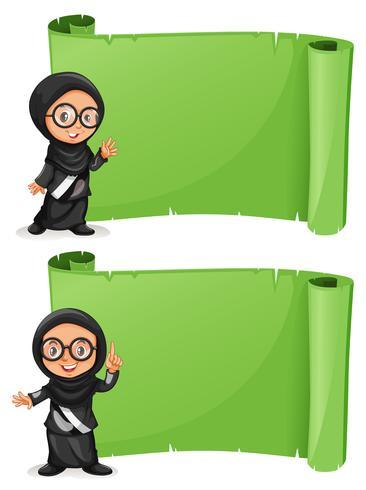 Två gröna papper med muslimska tjejer