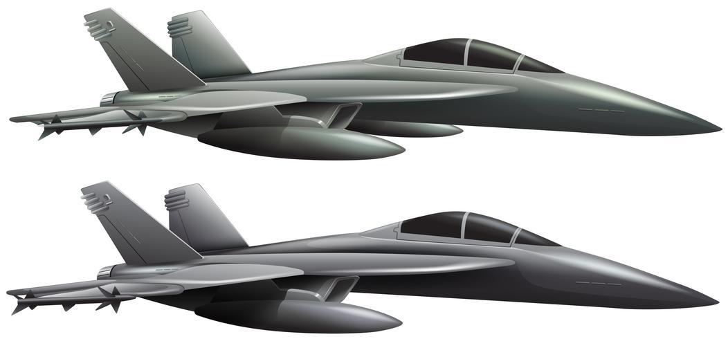 Twee jets op witte achtergrond vector