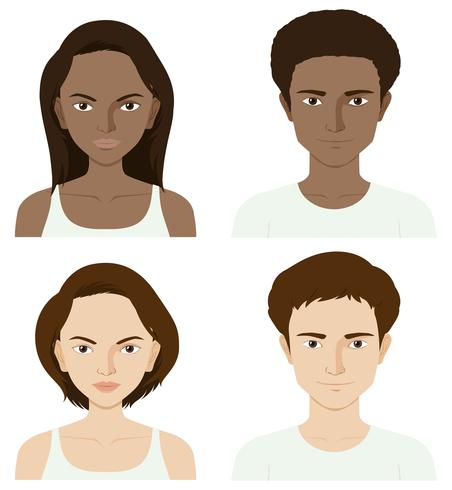 Four people with skin problem vector