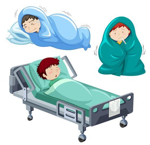 Crianças, doente, cama