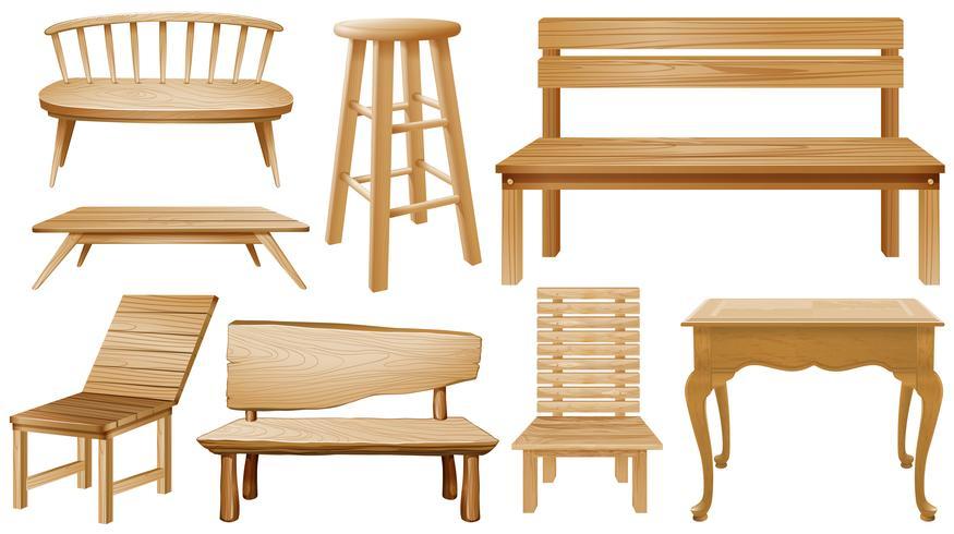 Verschiedene Ausführungen von Holzstühlen