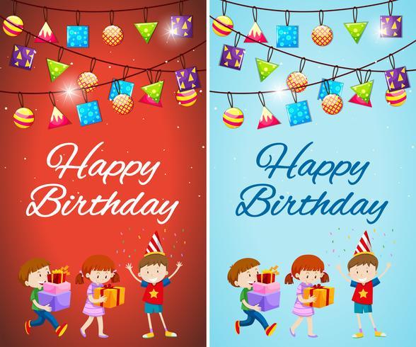 Två designer av födelsedagskort mall med barn och presenter