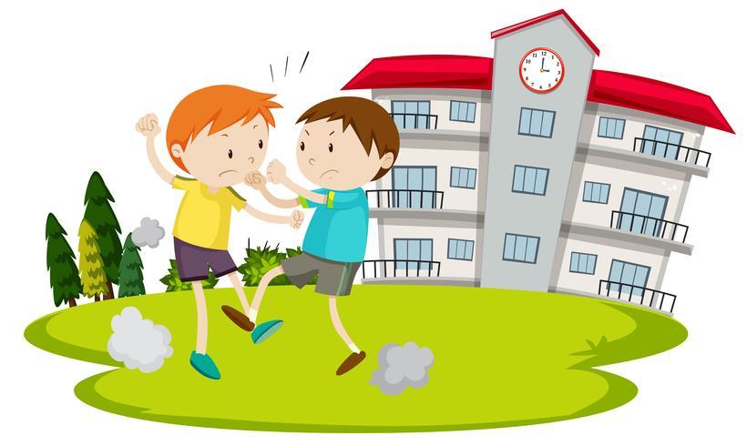 Joven peleando frente a la escuela
