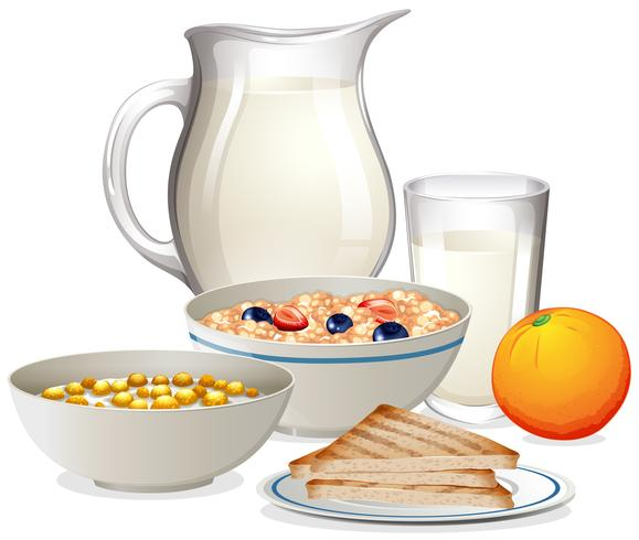 Una sana colazione su sfondo bianco