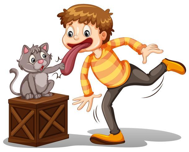 En pojke och en katt