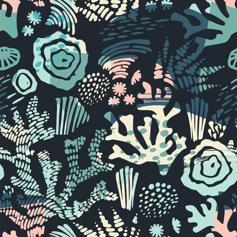 Vektor hav sömlösa mönster med handdragen texturer.