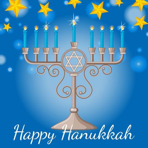 Cartão de feliz Hanukkah com velas azuis e estrelas à noite