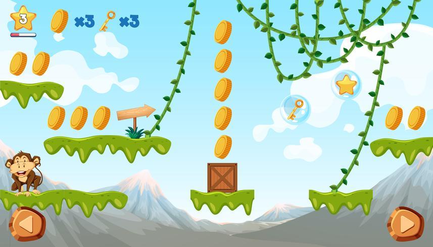 Jungle spel sjabloon met aap
