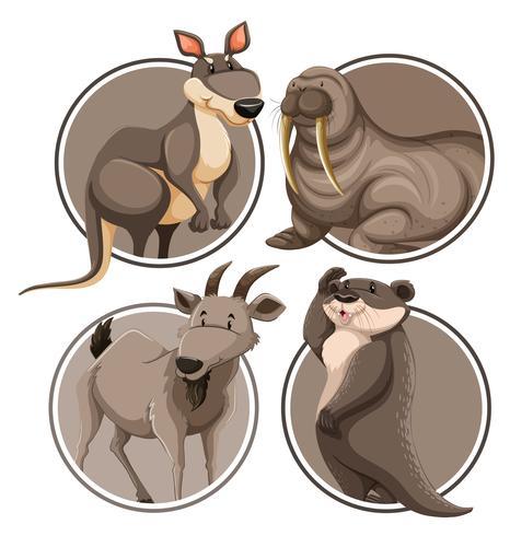Ensemble d'animaux sauvages sur le modèle d'autocollant