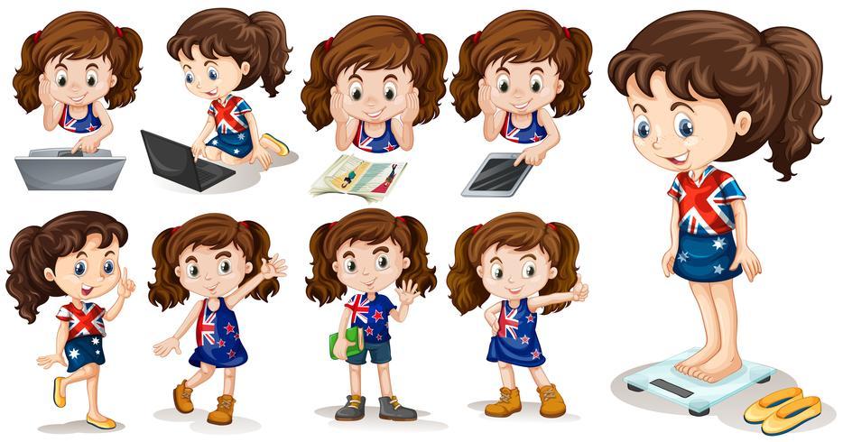 Petite fille faisant des activités différentes