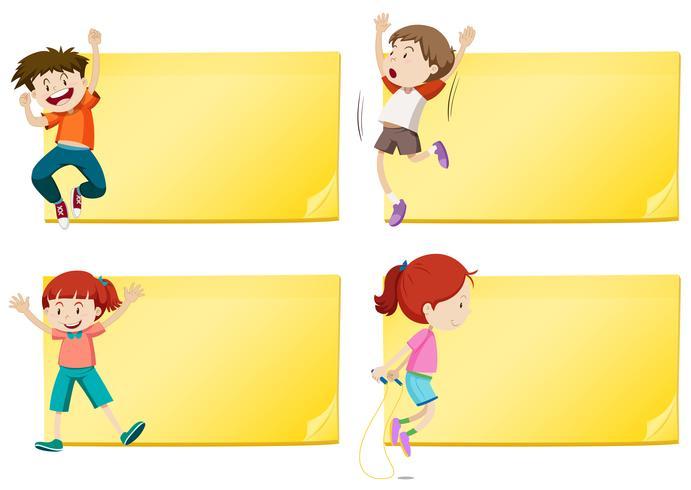 Diseño de etiquetas con ejercicio de niños y niñas.