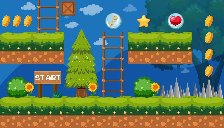 Modèle de jeu de jardin au point de départ