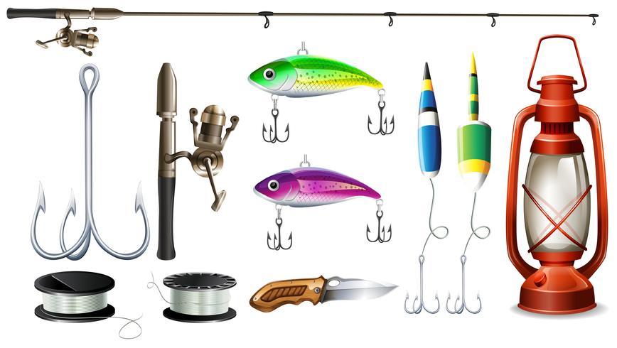 Equipo de pesca con caña y anzuelos.