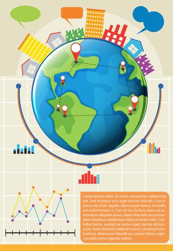 An infographics showing the globe