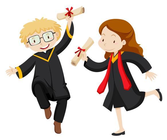 Man och kvinna med examen