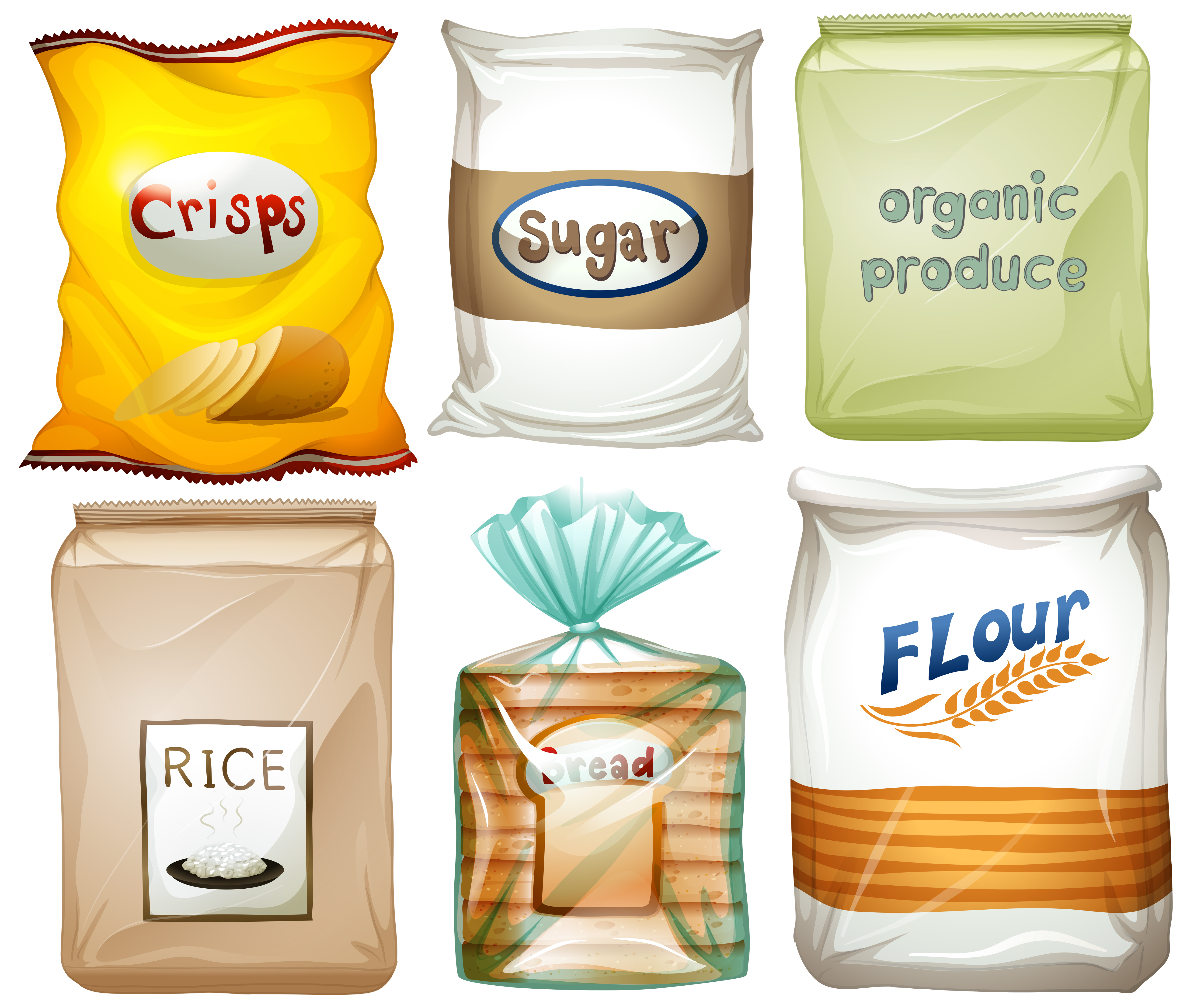 Different types of food in bags - Download Free Vectors ...