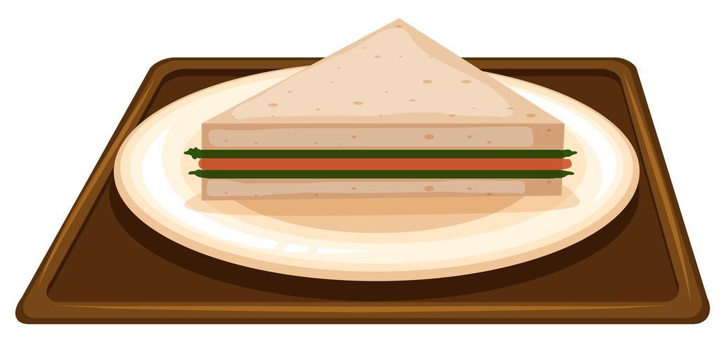 Sanduíche na cena de placa