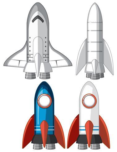 Set von Raketenschiffen vektor