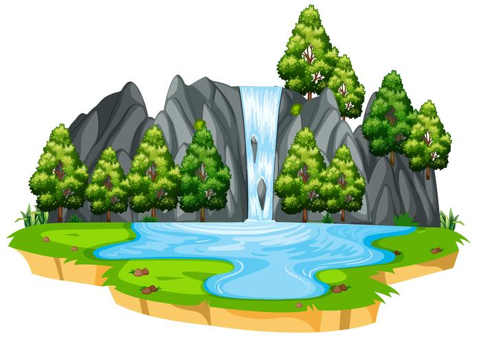 Geïsoleerde waterval in de natuur