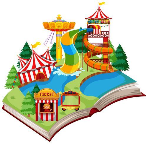 Libro abierto tema divertido parque