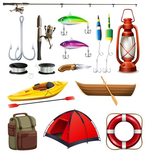 Conjunto de equipamentos de camping e pesca vetor