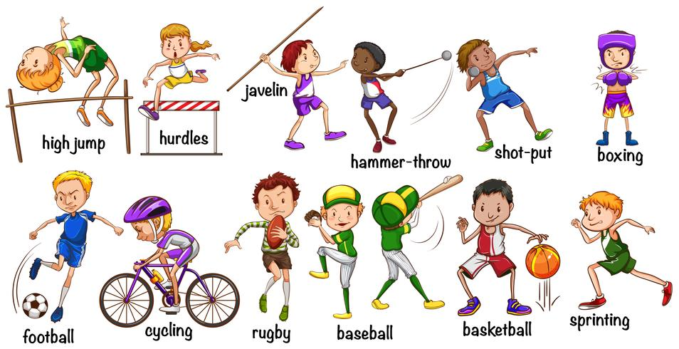 Men and women doing different sports vector