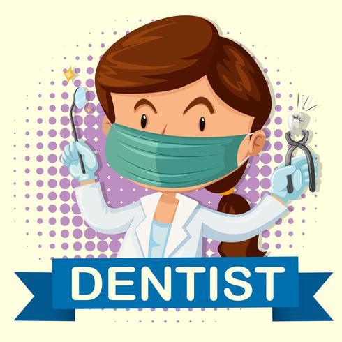Dentista de sexo femenino con diente y herramientas