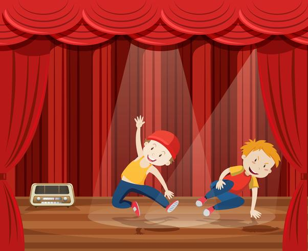 Young man perform hip hop dance on stage vector