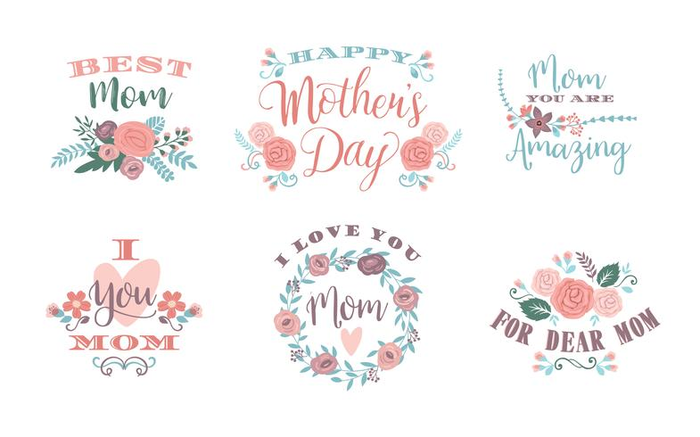 Happy Mothers Day. Vector emblems.