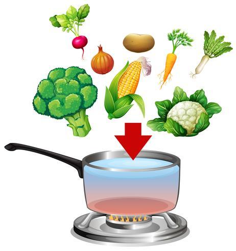 Grönsaker går in i en kruka