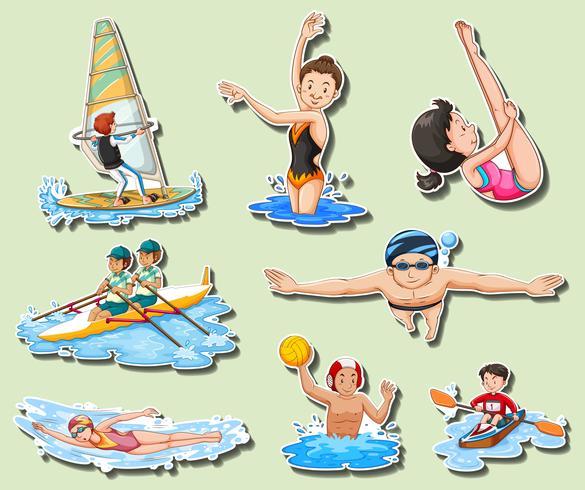 Sticker met mannen en vrouwen wordt geplaatst die sporten doen die