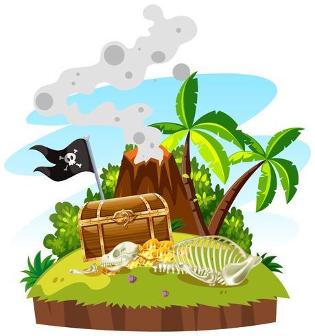 Isla del tesoro con cofre y oro.