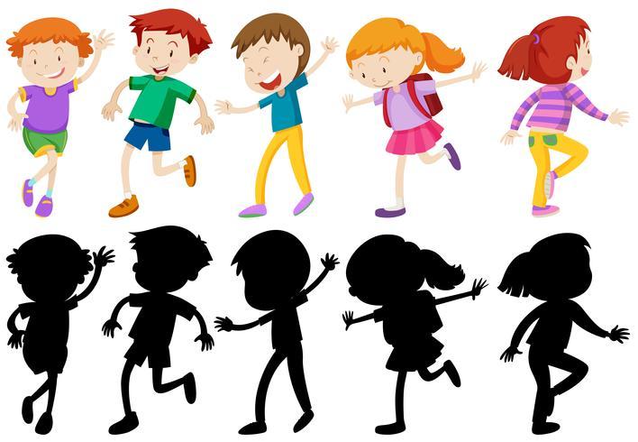 Barn karaktärer i silhuett och färgad