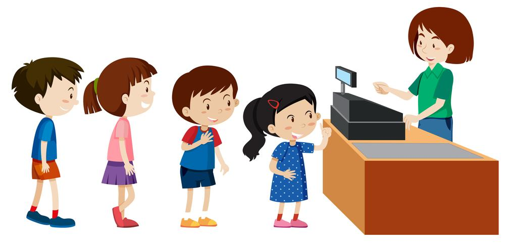 Children buying from a cashier