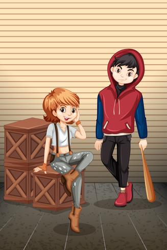 Urban teenager with crate vector