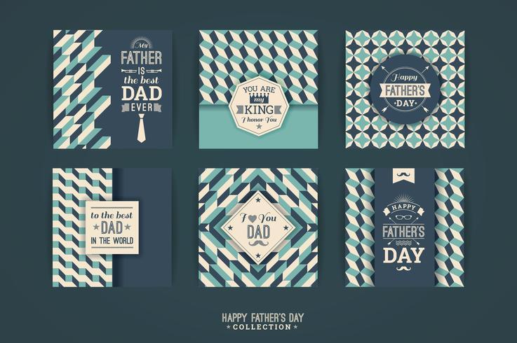 Happy Father s Day mallar i Retro Style. vektor