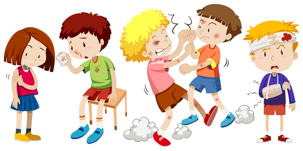A Set of Children Get Pain - Download Free Vector Art, Stock Graphics & Images