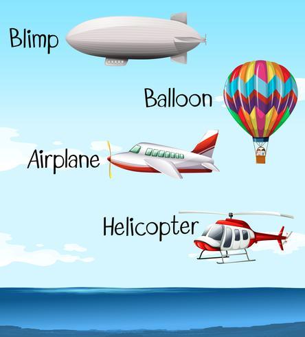 Diferentes tipos de aeronave.