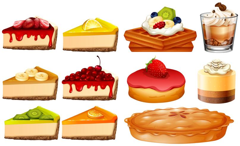 Different types of cakes and pie