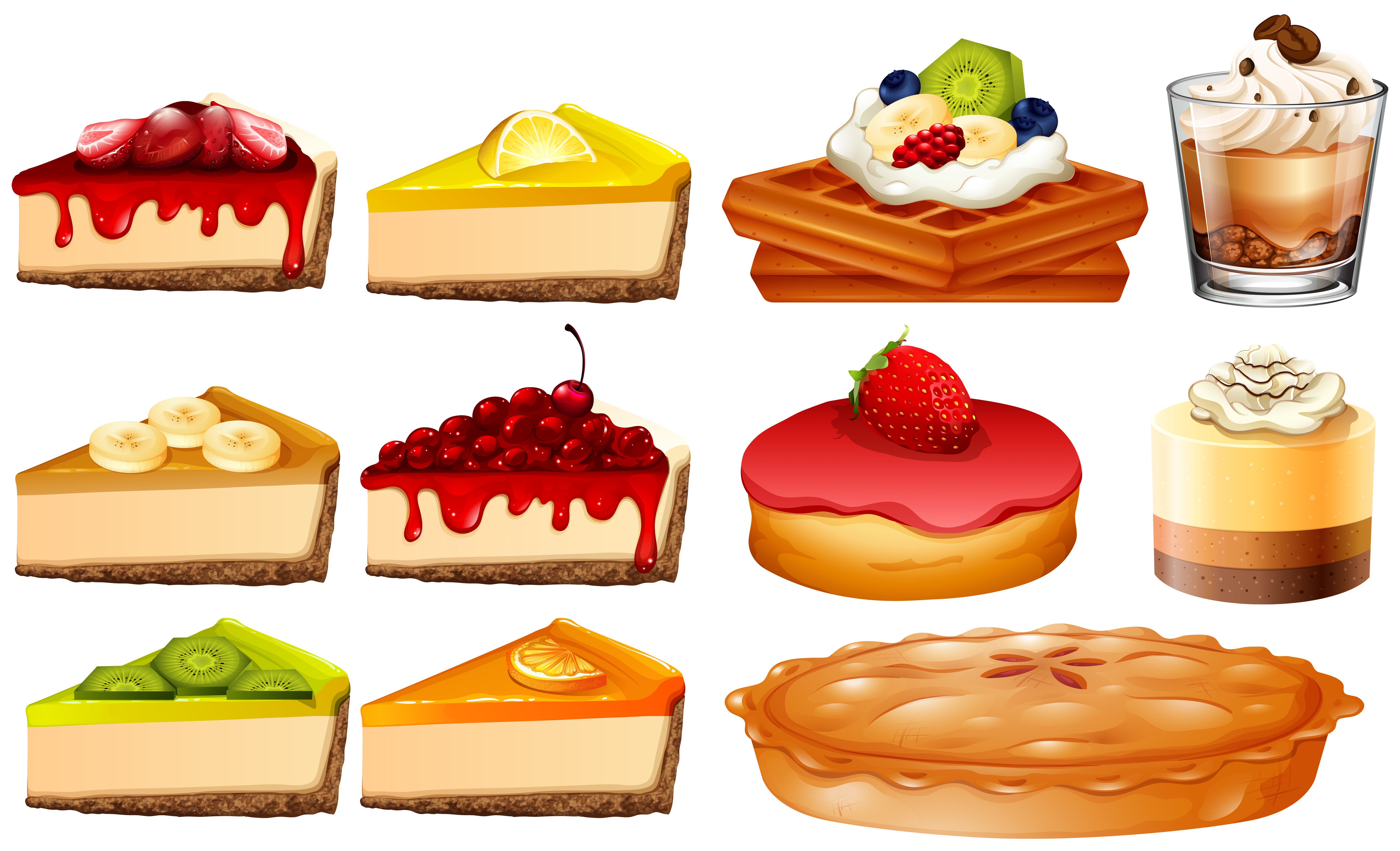 Different Types Of Cakes And Pie Download Free Vectors
