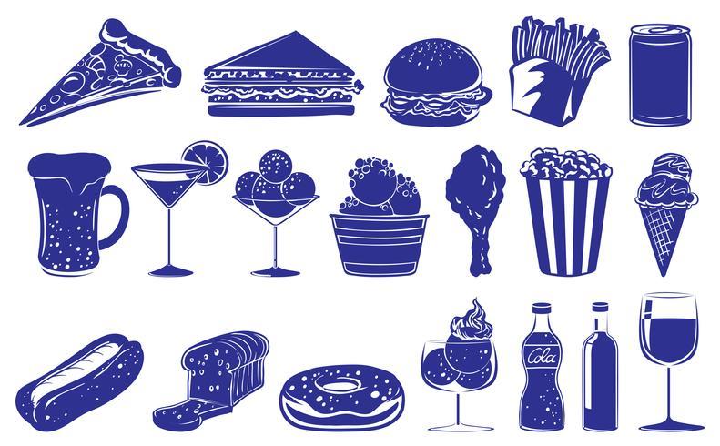 Diseño Doodle de los diferentes alimentos y bebidas. vector