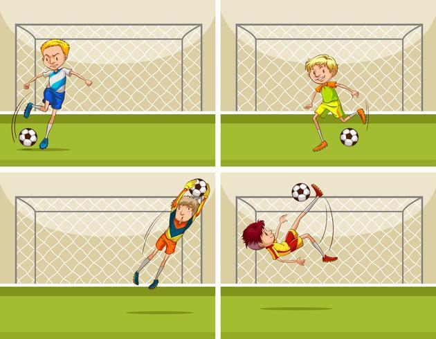 Fyra fotbollscener med målvakt på mål