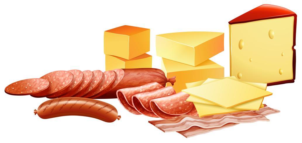 Ost och olika slags köttprodukter