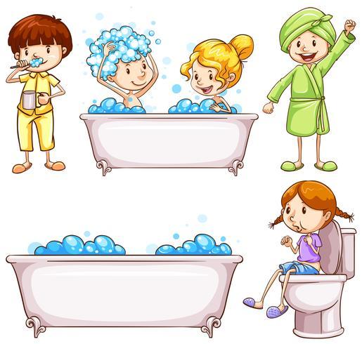 Kinder, die Zähne putzen und ein Bad nehmen - Download ...