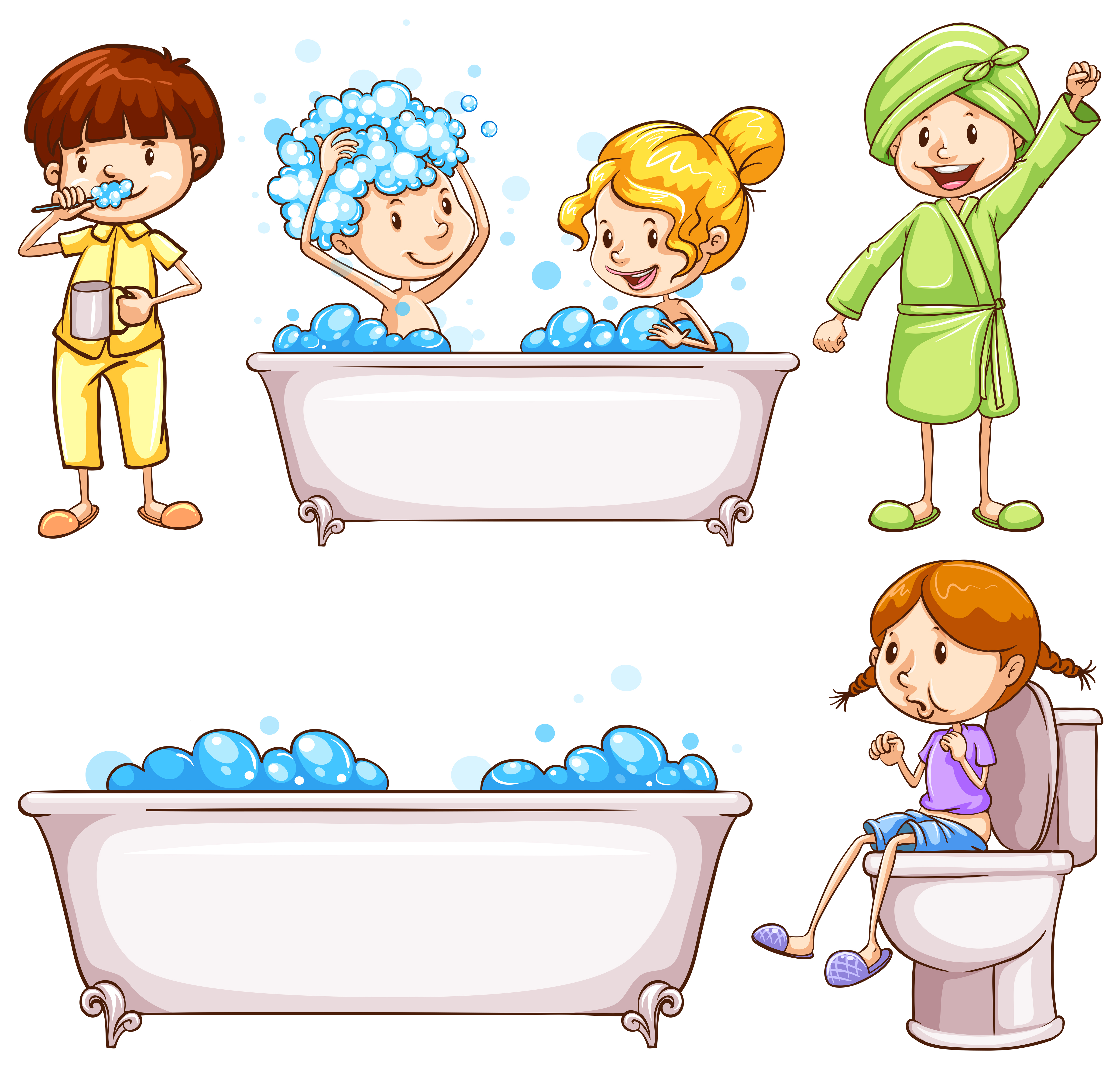 Children Brushing Teeth And Taking Bath Download Free Vectors Clipart Graphics Vector Art