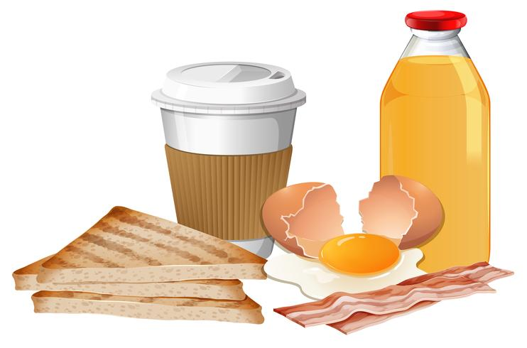 Frukost med paus och juice vektor