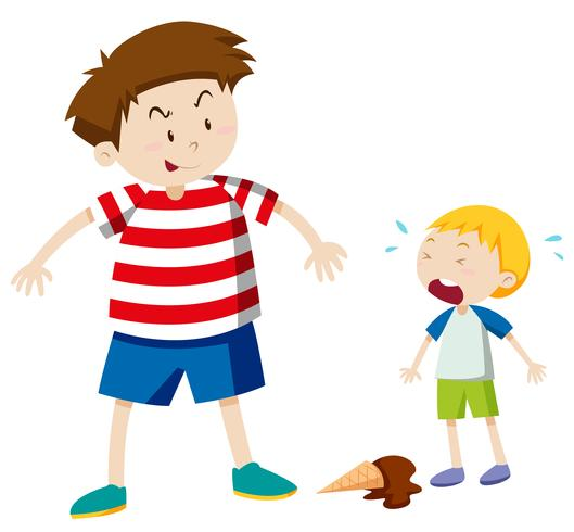 Big boy bullying smaller boy vector