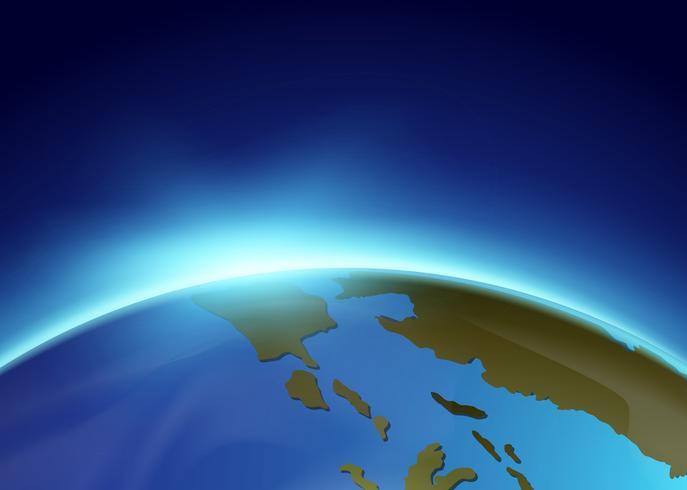 Solljus skiner från jorden