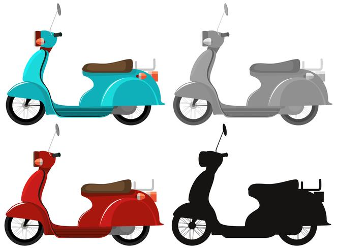 Set of classic scooter vector