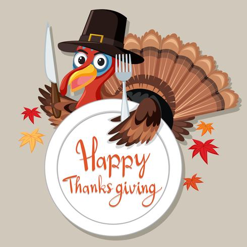 Happy Thanksgiving kalkoen kaart vector